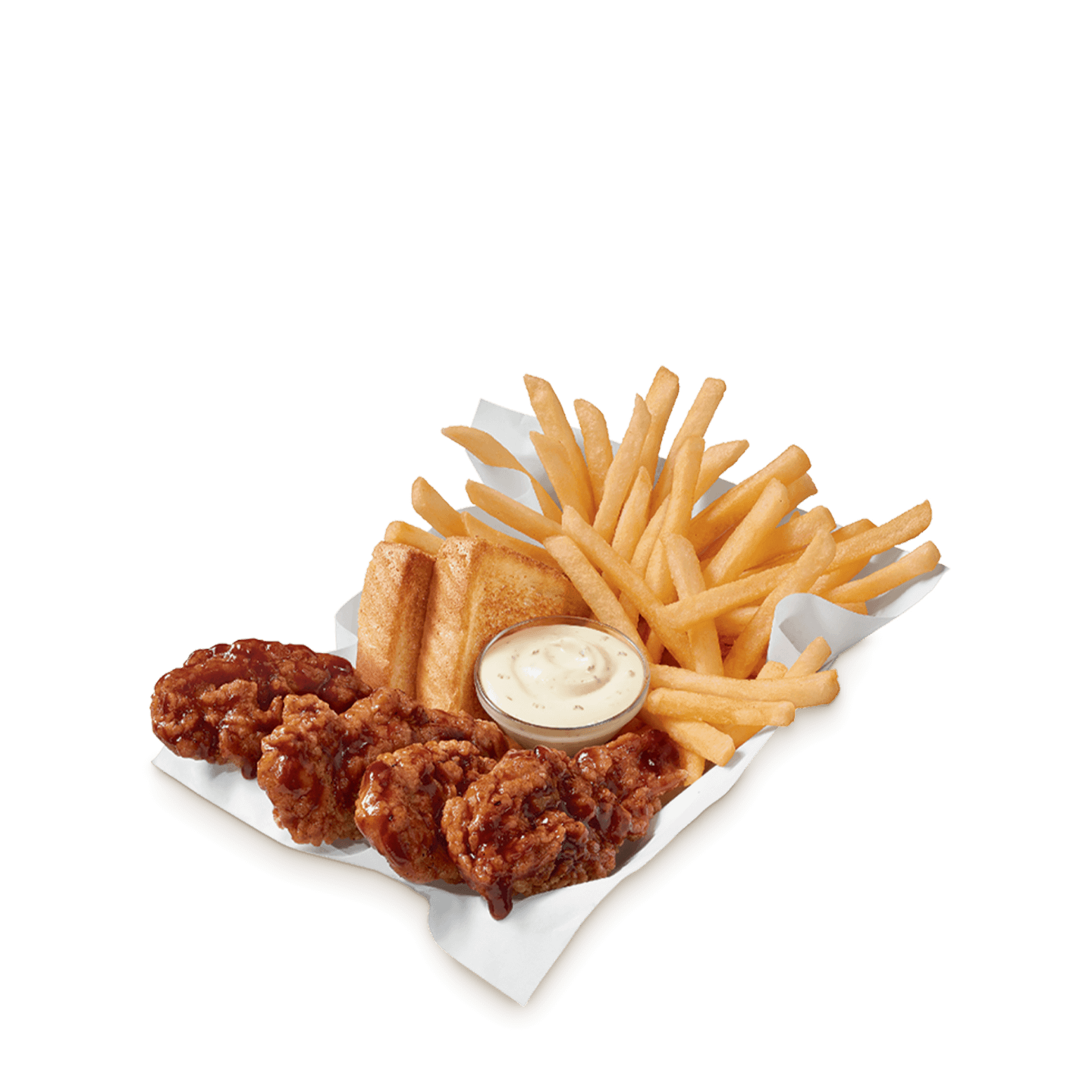 Honey BBQ chicken strips with fries, toast and dipping sauce