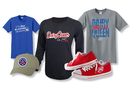 DQ T-shirts, hat, and shoe gear