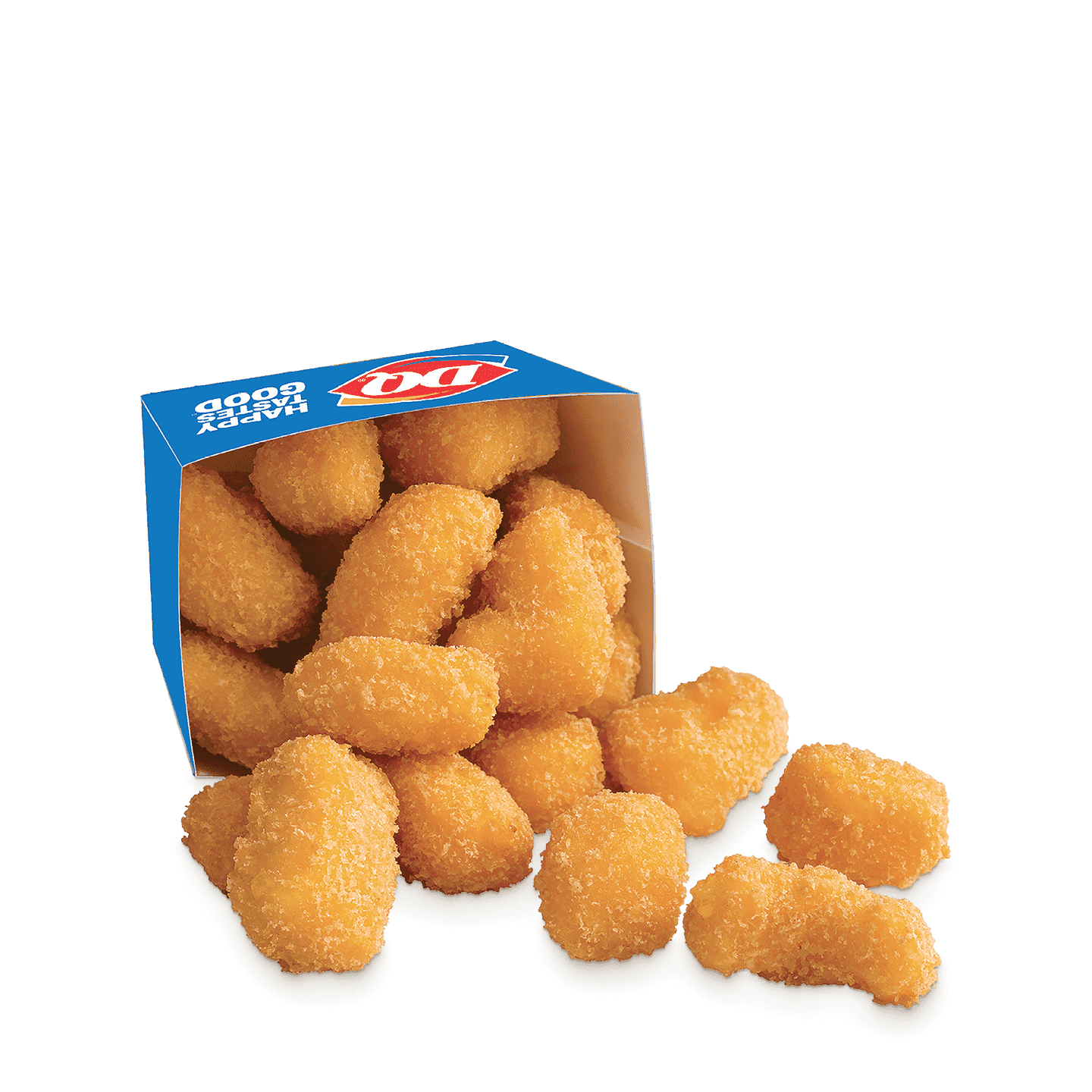 A box of deep-fried cheese curds.