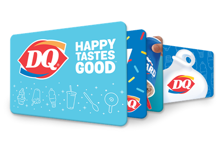 Various designs of gift card options with logos and soft serve.