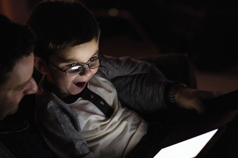 Child watching a tablet