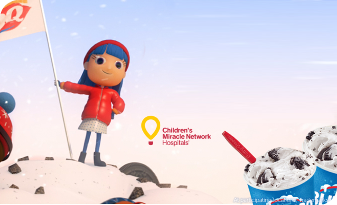 Cartoon Girl scaling a mountain made of DQ blizzard